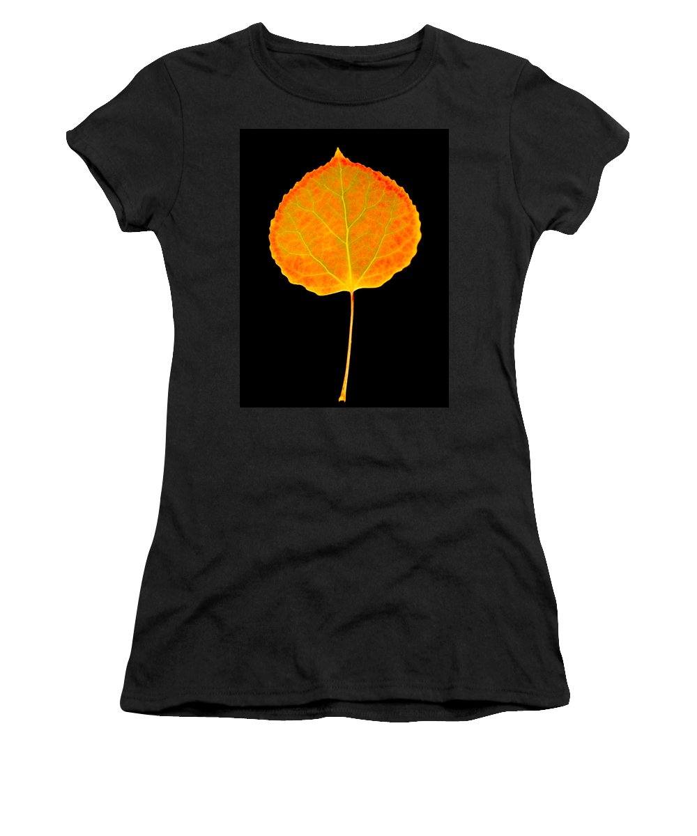 Leaf Women's T-Shirt (Athletic Fit) featuring the photograph Aspen Leaf by Marilyn Hunt