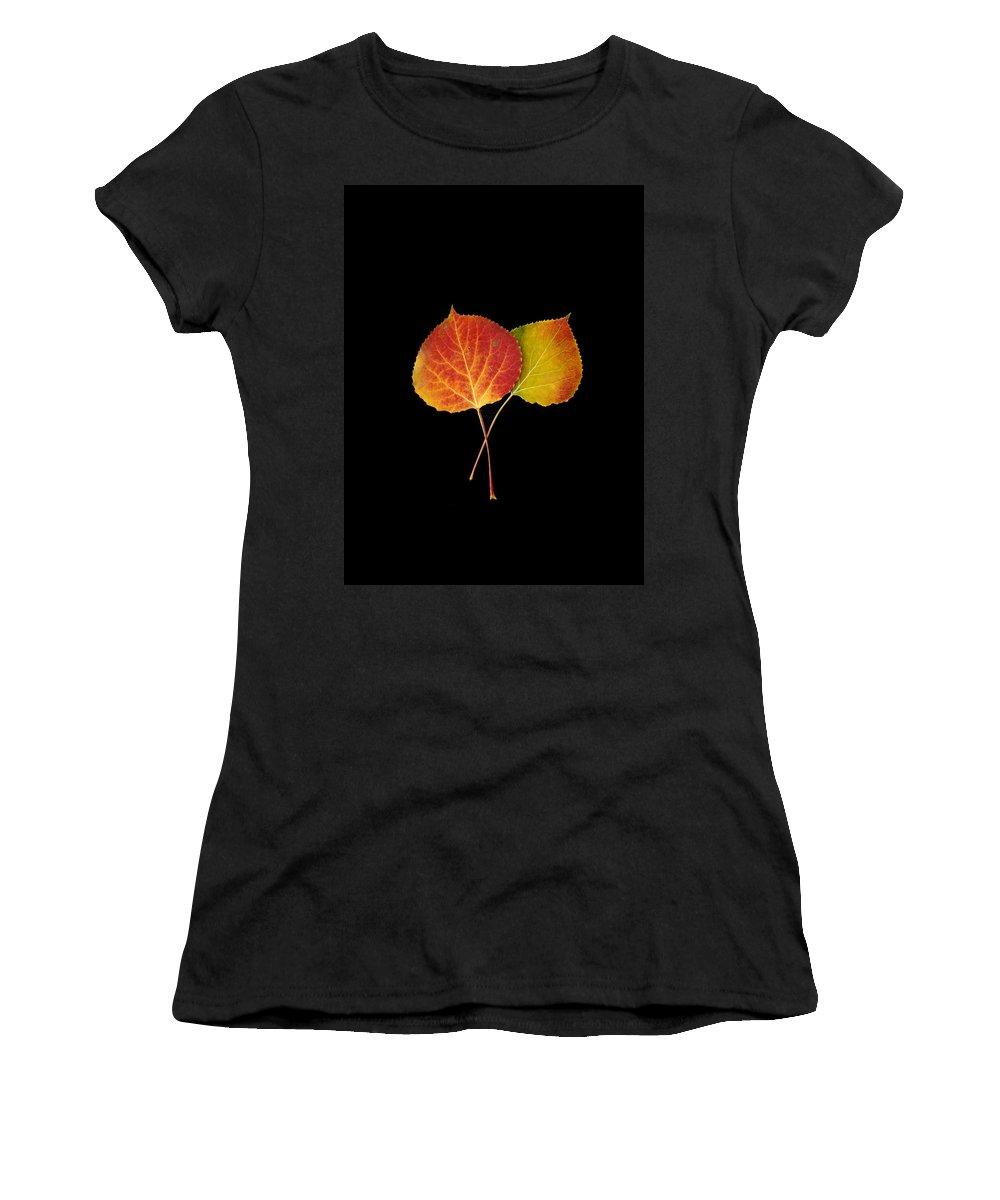 Leaves Women's T-Shirt (Athletic Fit) featuring the photograph Aspen Leaves by Carol Milisen