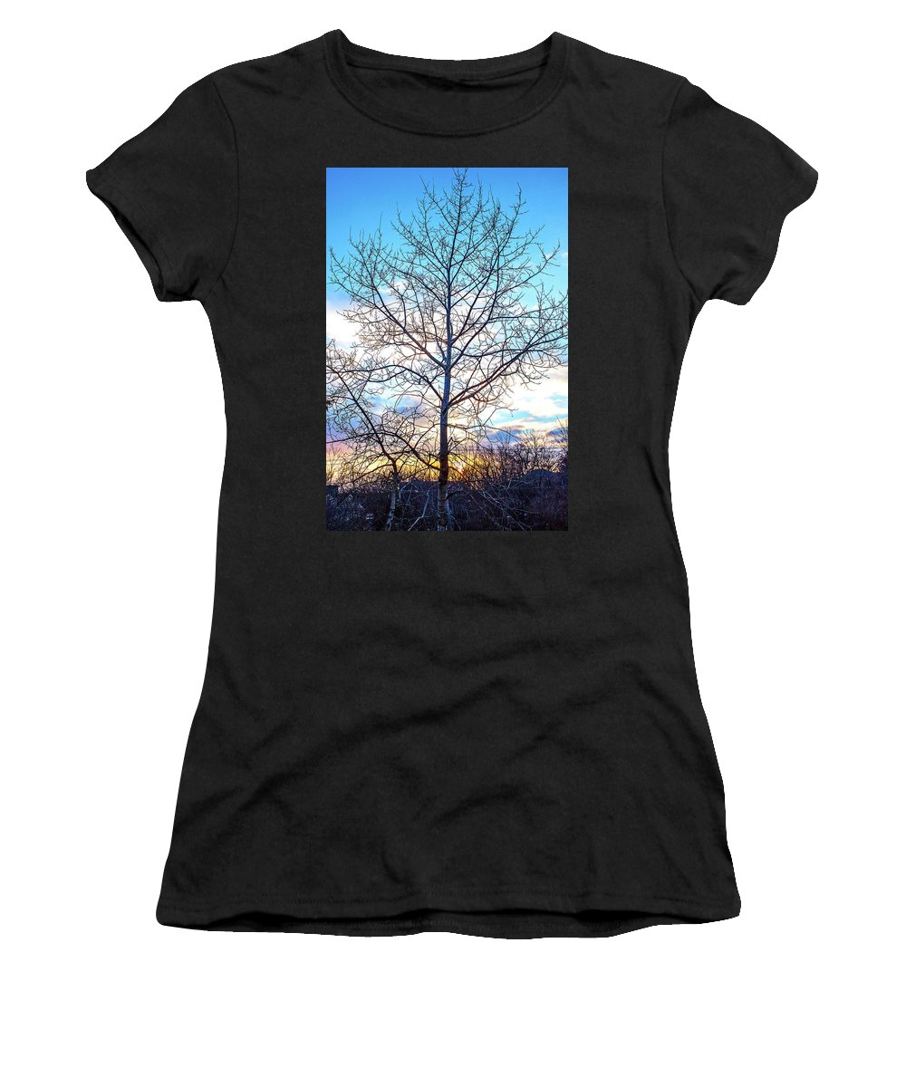 Sunset Women's T-Shirt (Athletic Fit) featuring the photograph Aspen Tree At Sunset by Ira Marcus