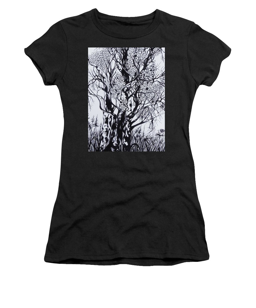 Ink And Pen Women's T-Shirt featuring the drawing Aspens by Anna Duyunova