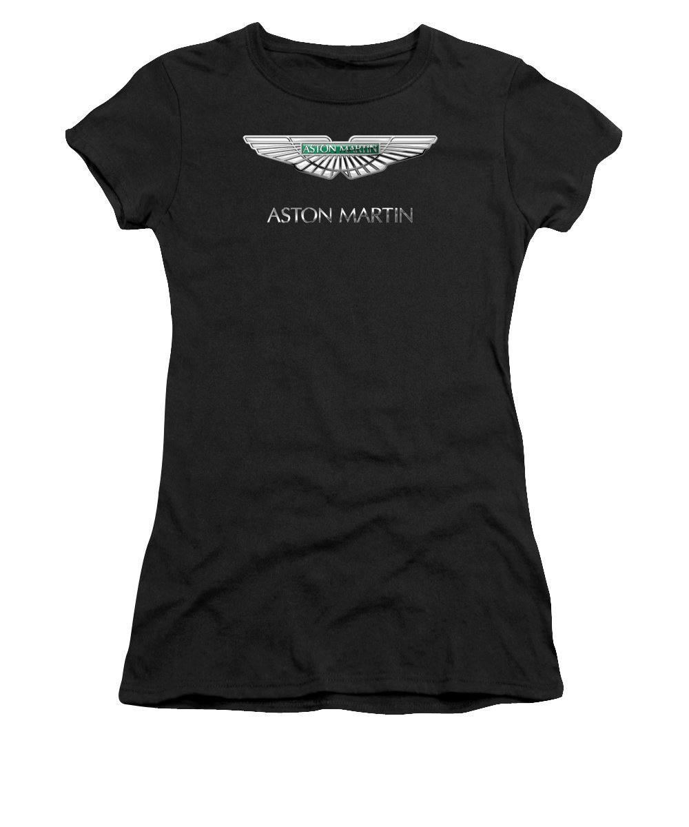 'wheels Of Fortune� Collection By Serge Averbukh Women's T-Shirt featuring the photograph Aston Martin 3 D Badge On Black by Serge Averbukh