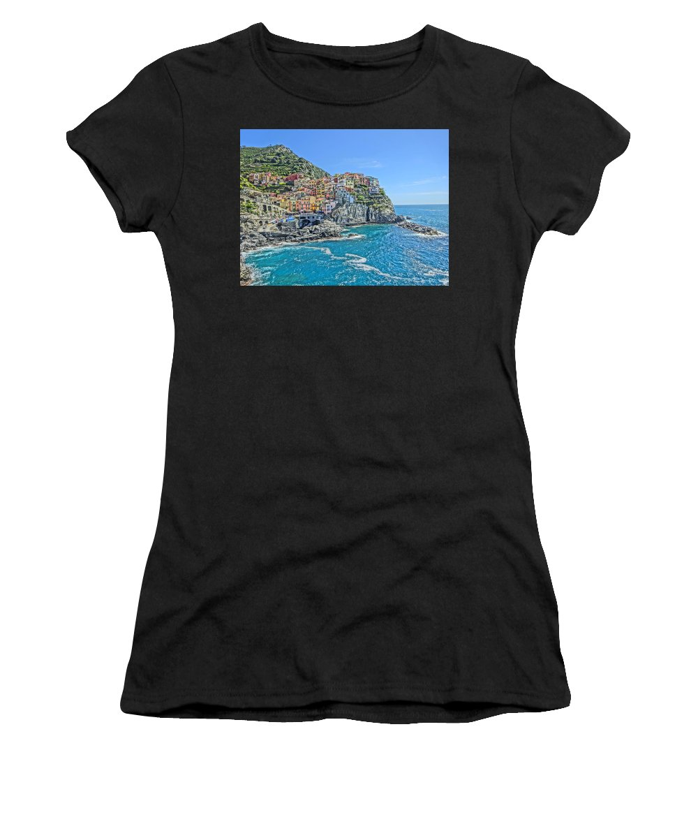 Cinque Terre Women's T-Shirt featuring the photograph Astonishing Magnificient Manarola In Cinque Terre by M Bleichner