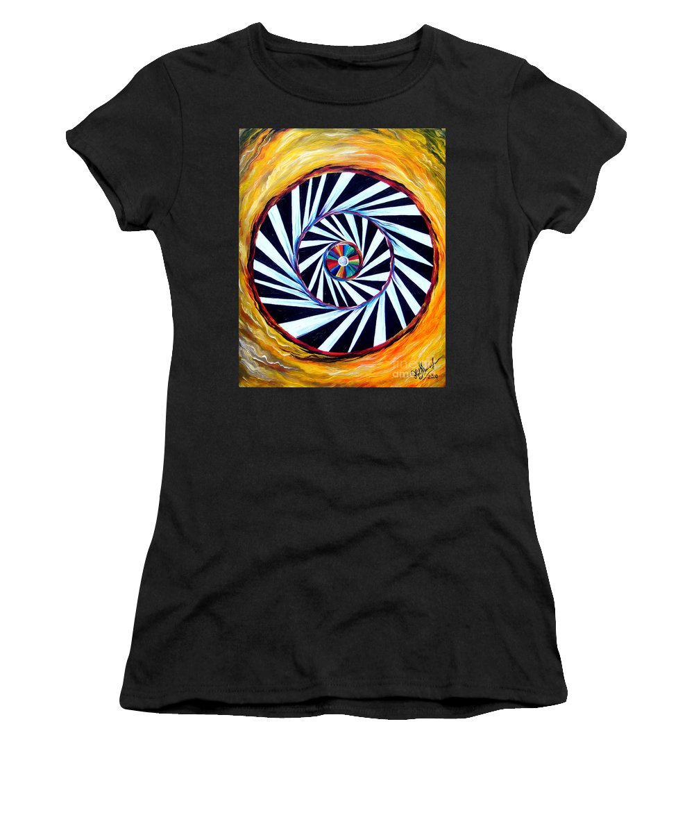 Astral Women's T-Shirt (Athletic Fit) featuring the painting Astral Map Of The World. Black And White Stripes by Sofia Metal Queen