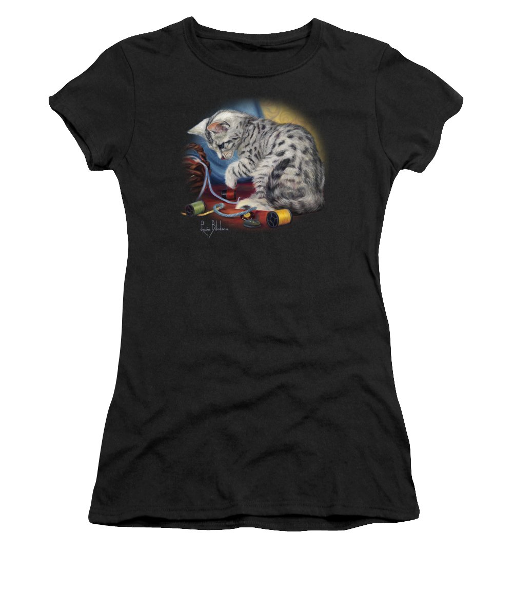 Cat Women's T-Shirt featuring the painting At Play by Lucie Bilodeau