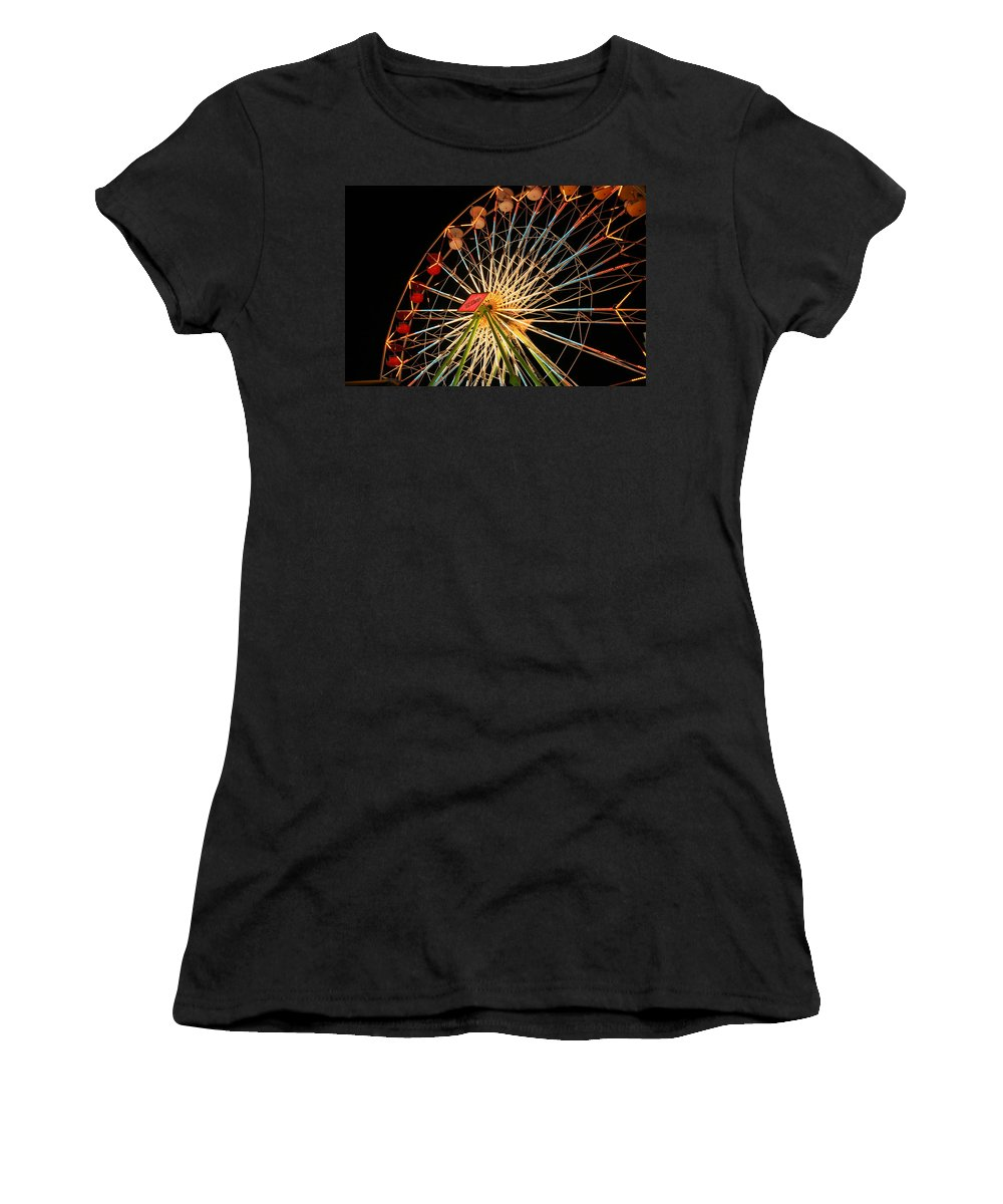 Ferris Wheel Women's T-Shirt (Athletic Fit) featuring the photograph At The County Fair by Joe Kozlowski