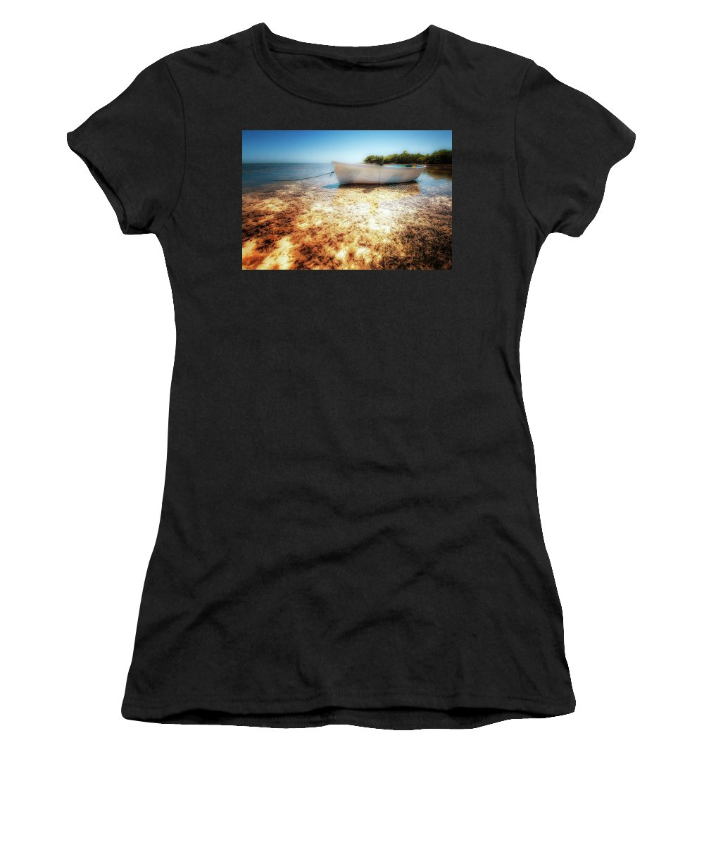 Boat Women's T-Shirt (Athletic Fit) featuring the photograph At The Edge Of The Ocean by Heather Allen