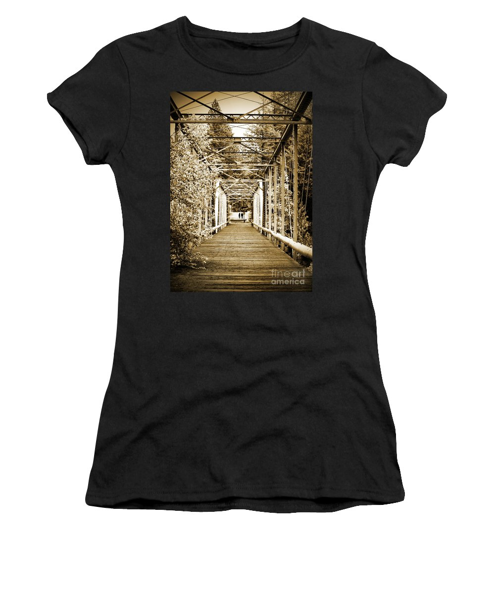 Bridge Women's T-Shirt featuring the photograph At The Other End Of The Old Bridge by Tara Turner