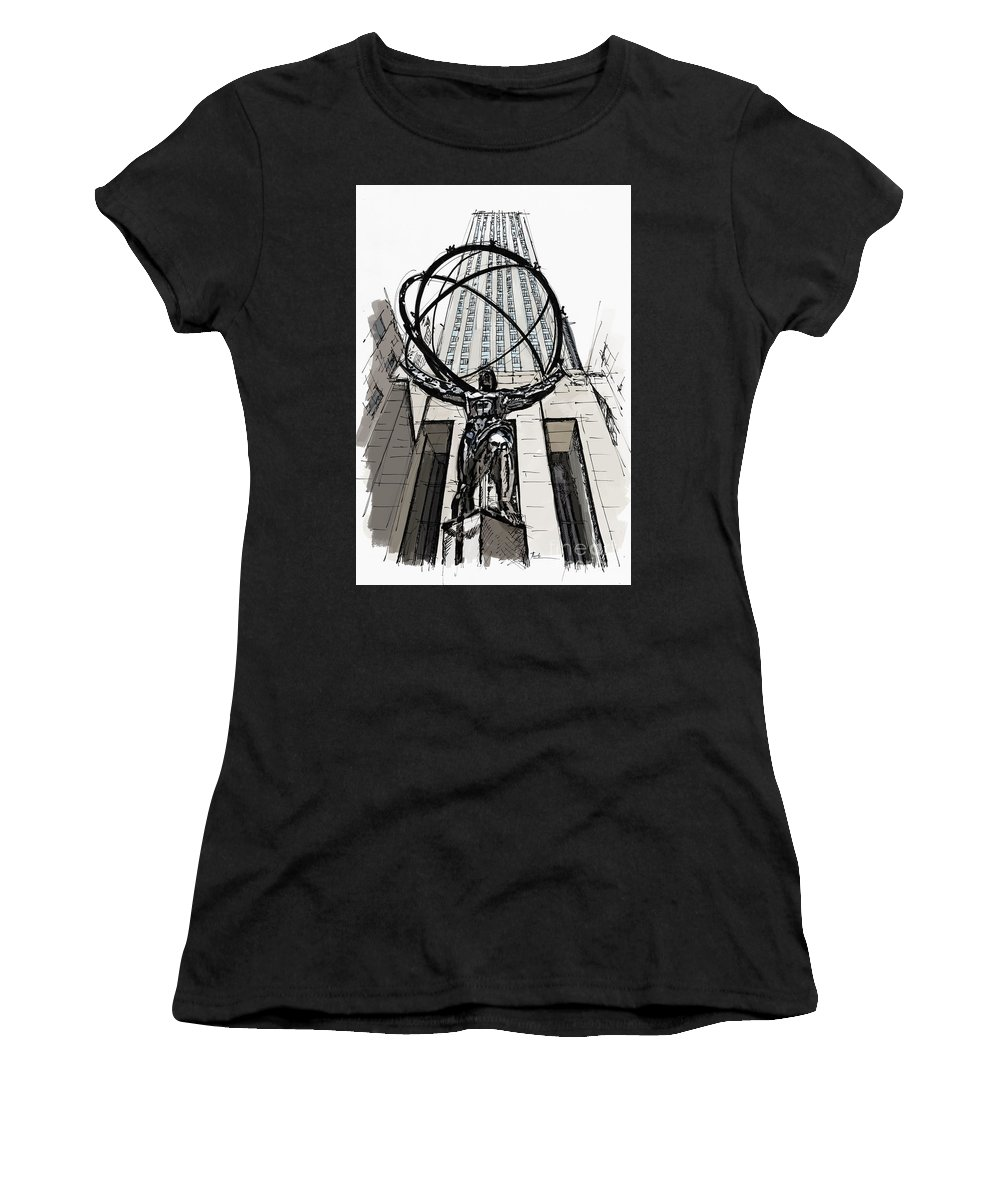 St. Patrick�s Cathedral Women's T-Shirt (Athletic Fit) featuring the painting Atlas Sculpture Sketch In New York City by Drawspots Illustrations