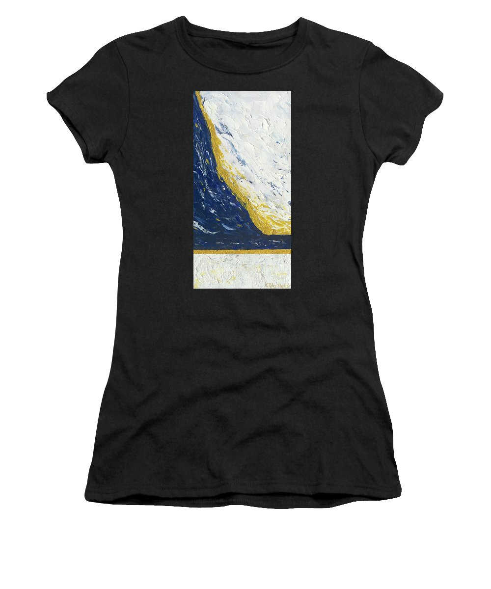 Abstract Women's T-Shirt featuring the painting Atmospheric Conditions, Panel 3 Of 3 by Kathryn Riley Parker