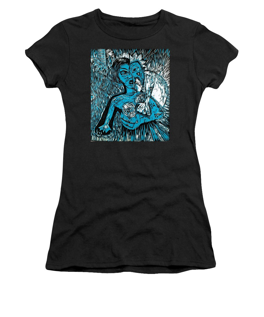 Clay Women's T-Shirt (Athletic Fit) featuring the painting Attached by Thomas Valentine