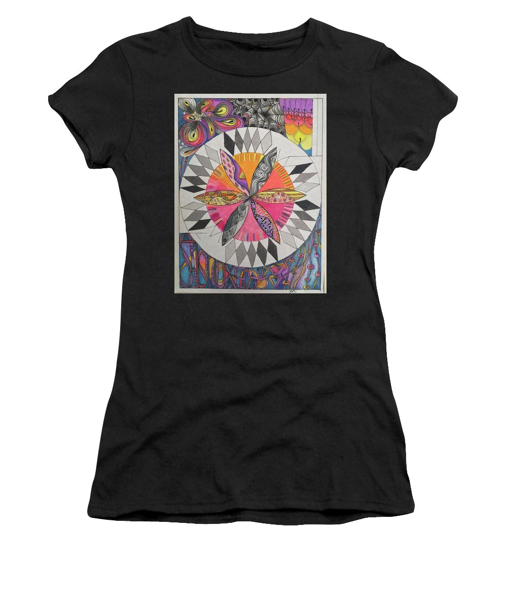 Colored Pencil Women's T-Shirt featuring the drawing Attracted by Suzanne Udell Levinger