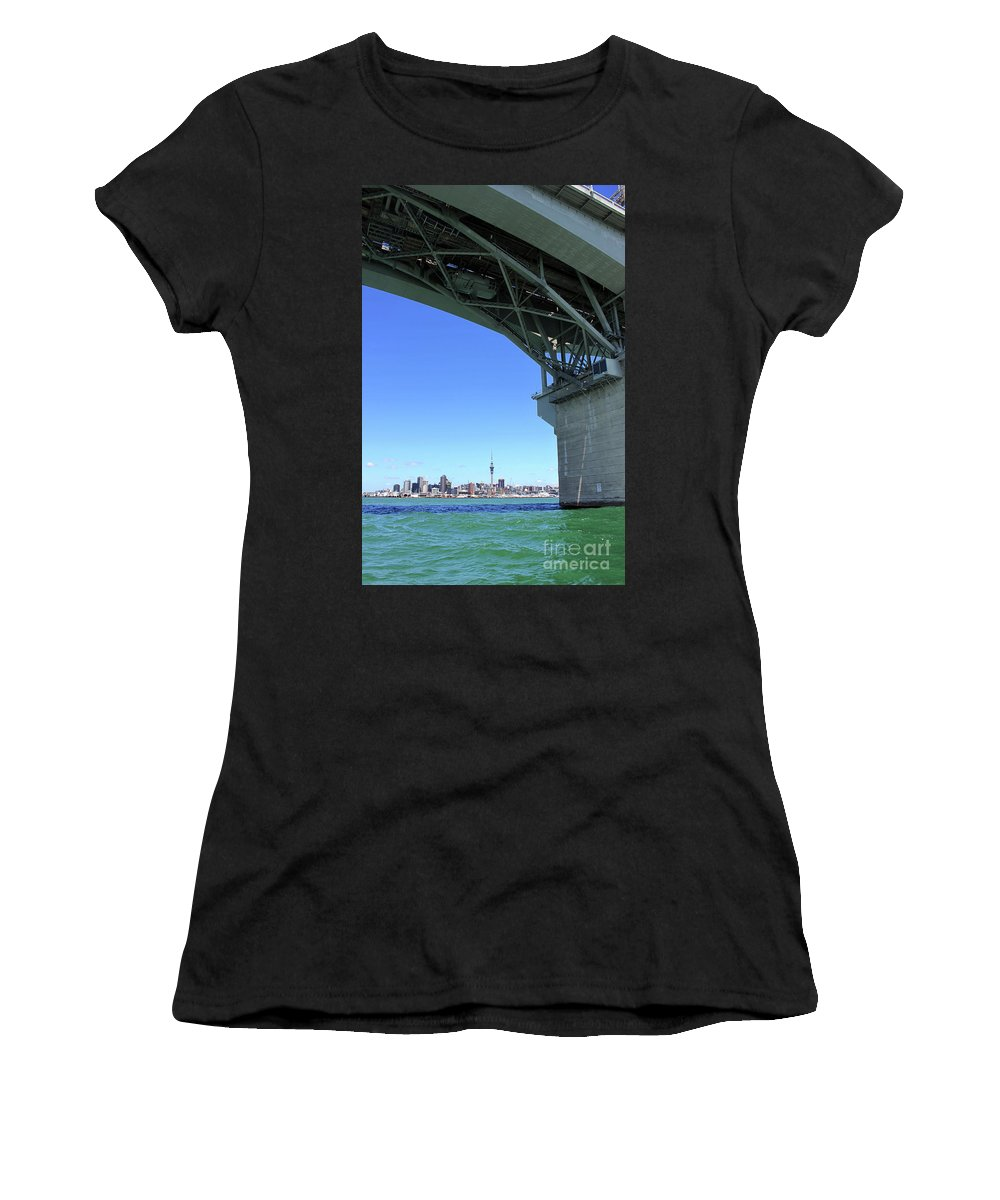 Auckland Women's T-Shirt (Athletic Fit) featuring the photograph Auckland Harbour And Bridge by Gee Lyon