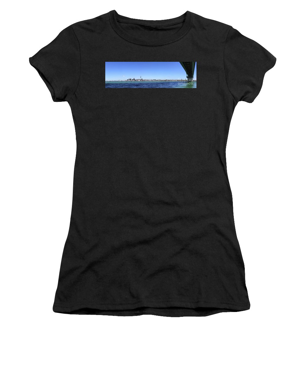 Auckland Women's T-Shirt (Athletic Fit) featuring the photograph Auckland Harbour by Gee Lyon