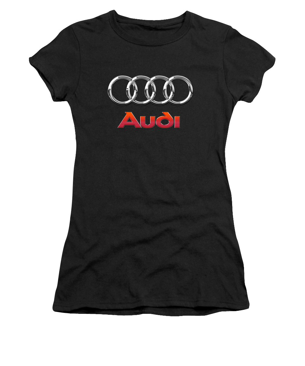 'wheels Of Fortune' Collection By Serge Averbukh Women's T-Shirt (Junior Cut) featuring the photograph Audi 3 D Badge On Black by Serge Averbukh
