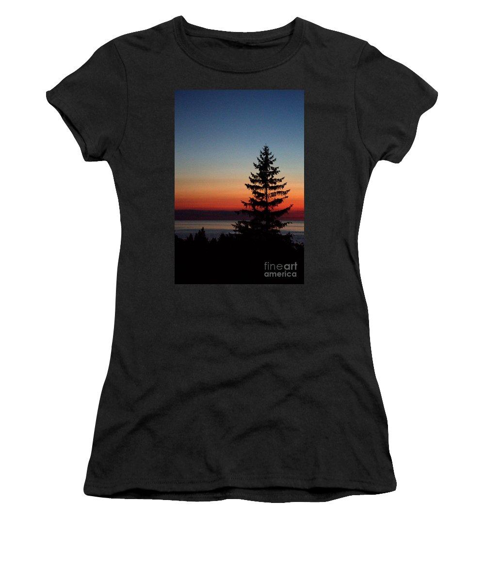 Grand Bend Women's T-Shirt featuring the photograph August Glow Pine by John Scatcherd