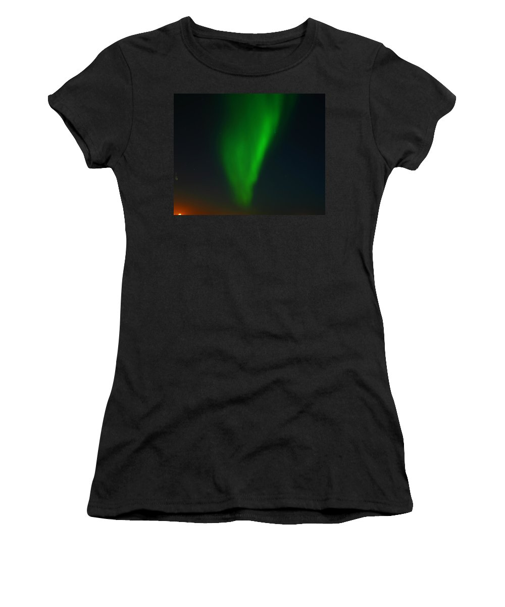Aurora Borealis Women's T-Shirt (Athletic Fit) featuring the photograph Aurora Borealis by Anthony Jones
