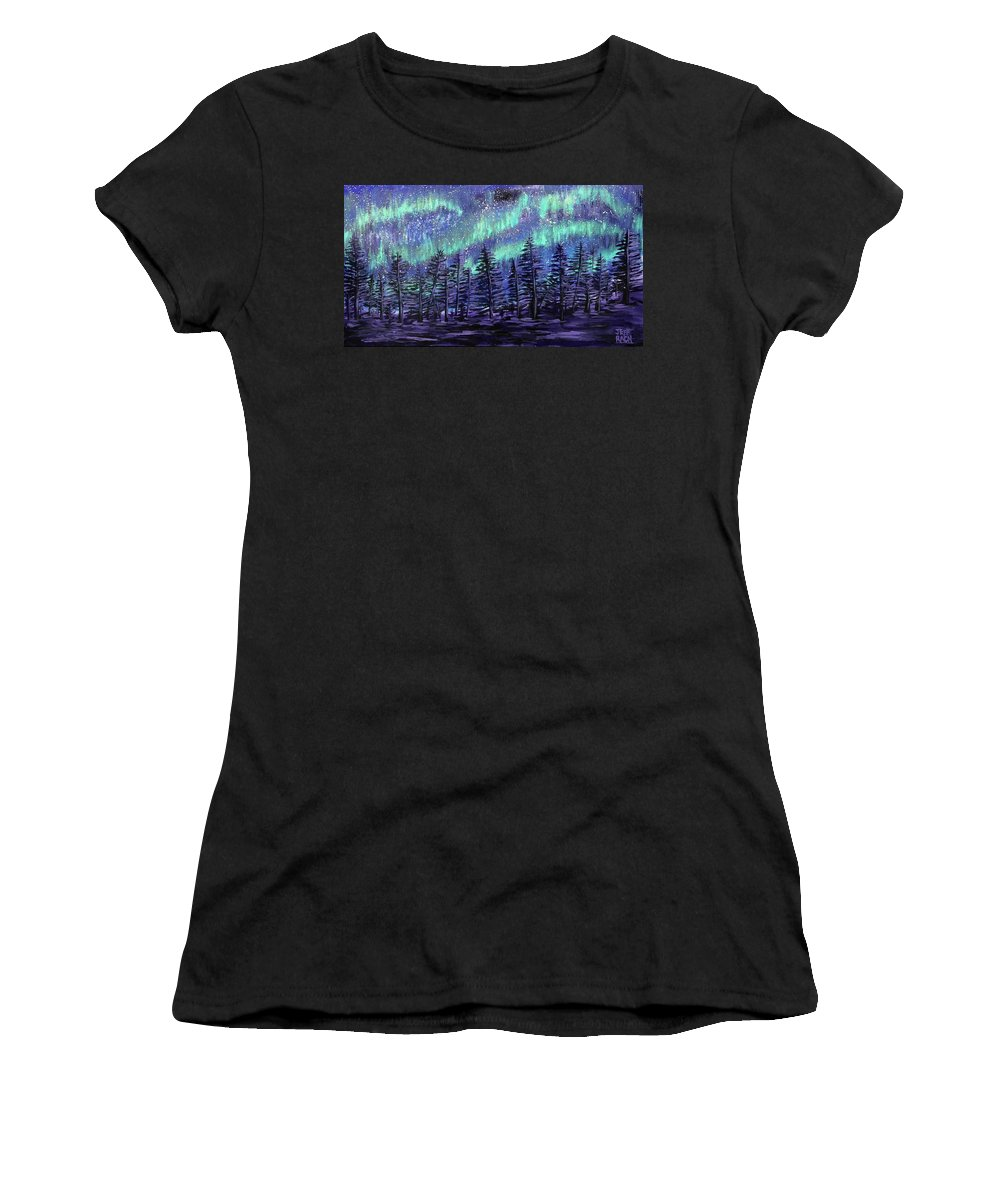 Blue Women's T-Shirt (Athletic Fit) featuring the painting Aurora Borealis by Jeff Rach