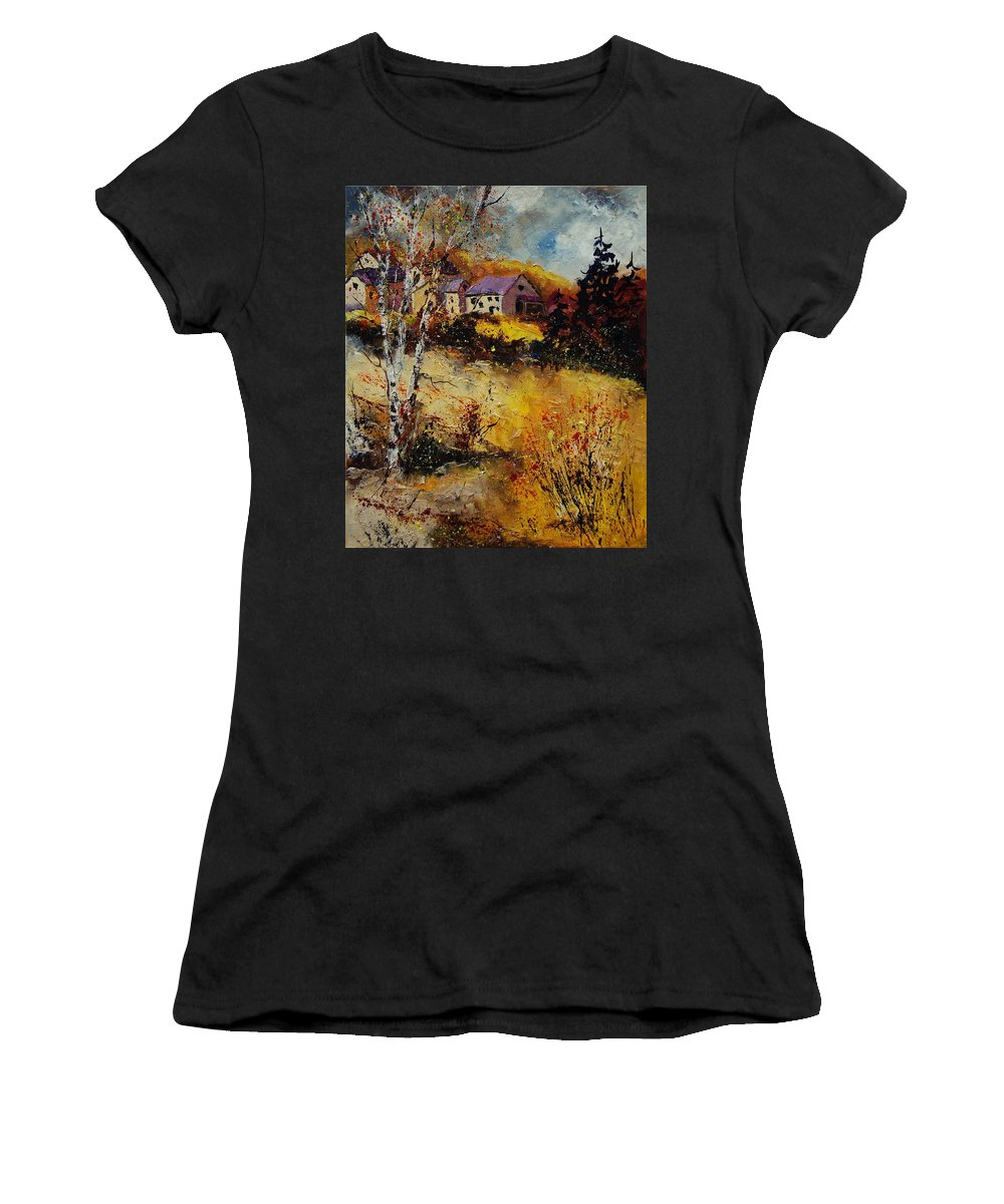 Landscape Women's T-Shirt (Athletic Fit) featuring the painting Autumn 569021 by Pol Ledent