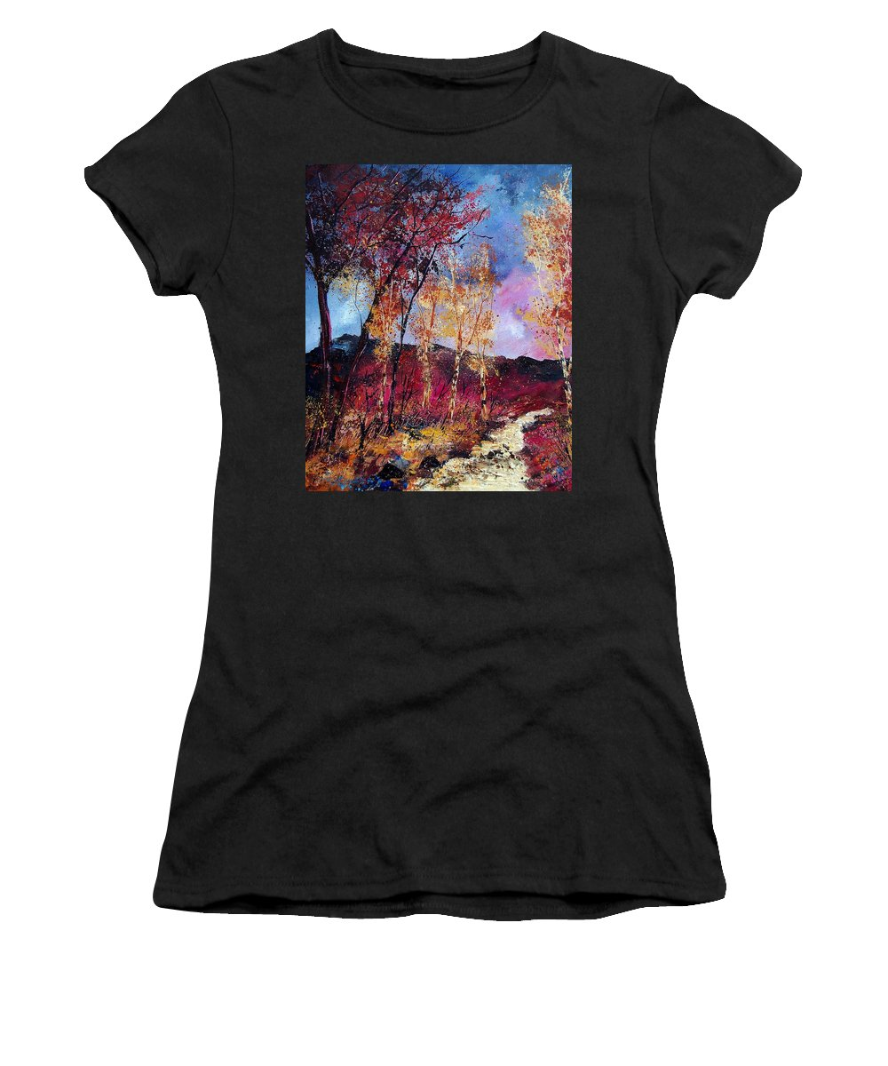Landscape Women's T-Shirt featuring the painting Autumn 760808 by Pol Ledent
