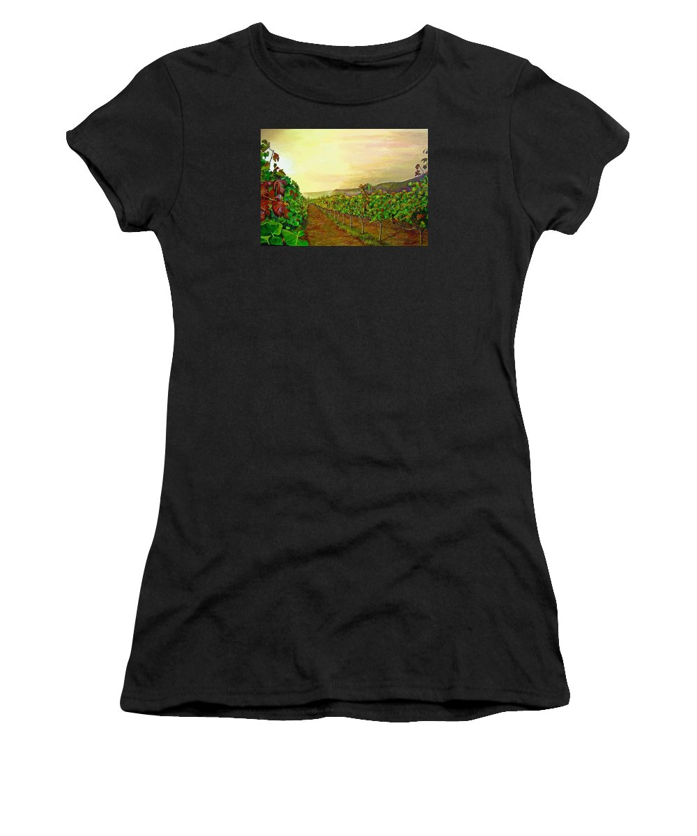 Vineyard Women's T-Shirt (Athletic Fit) featuring the painting Autumn At Steenberg by Michael Durst