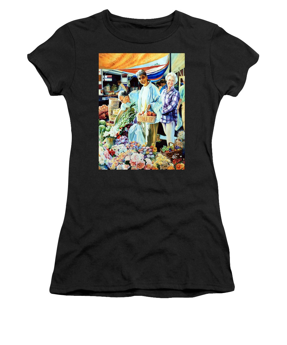 Cambridge Farmers Market Women's T-Shirt (Athletic Fit) featuring the painting Autumn Bounty by Hanne Lore Koehler