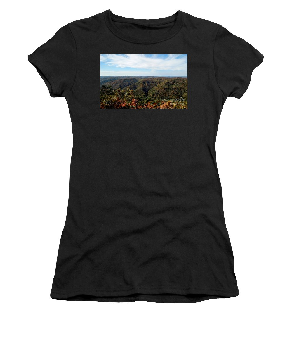 Harlan County Ky Photographs Women's T-Shirt (Athletic Fit) featuring the photograph Autumn Comes To The Mountains 3 by Tammy Hyatt