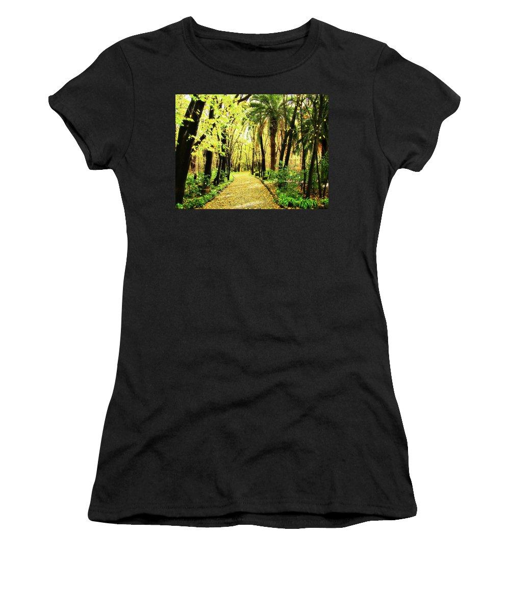 Autumn Women's T-Shirt featuring the photograph Autumn Corridor by Douglas Barnard
