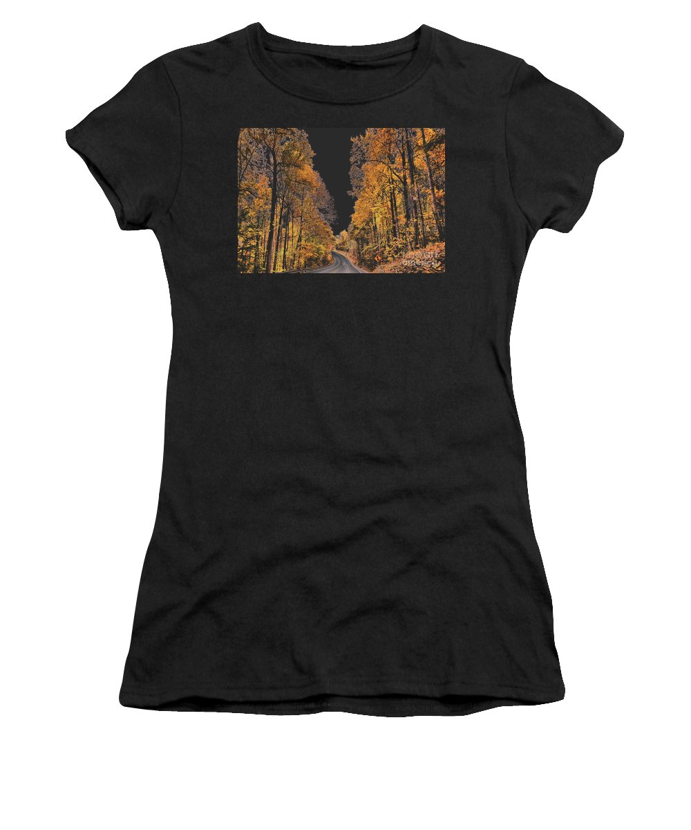 Autumn Drive Women's T-Shirt (Athletic Fit) featuring the photograph Autumn Drive 2 by Wanda-Lynn Searles