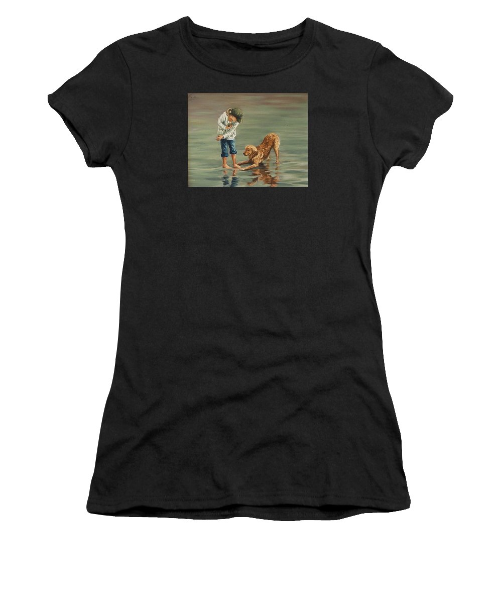 Girl Kid Child Figurative Dog Sea Reflection Playing Water Beach Women's T-Shirt (Athletic Fit) featuring the painting Autumn Eve by Natalia Tejera