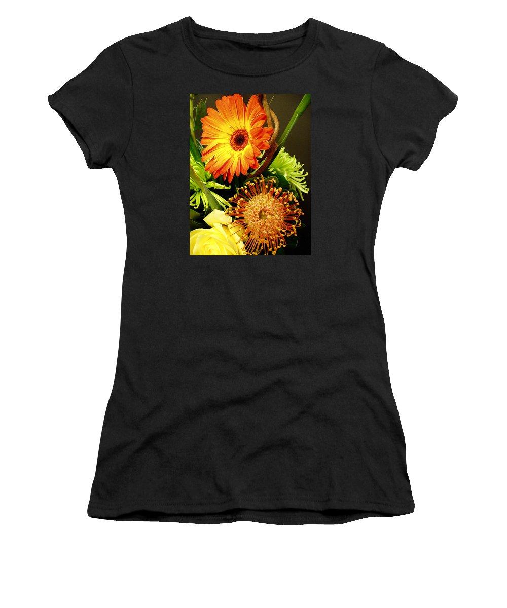 Autumn Women's T-Shirt (Athletic Fit) featuring the photograph Autumn Flower Arrangement by Nancy Mueller