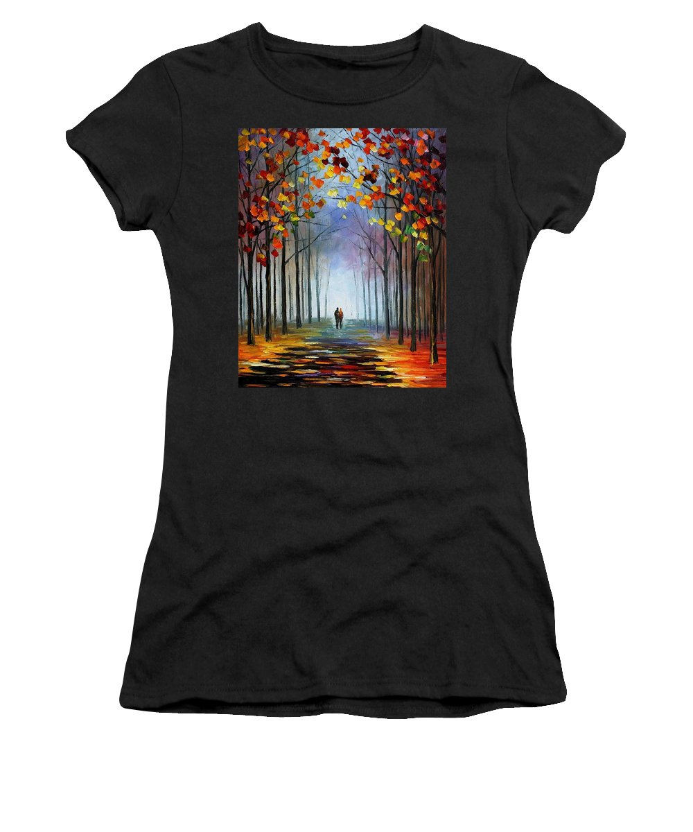 Afremov Women's T-Shirt (Athletic Fit) featuring the painting Autumn Fog by Leonid Afremov