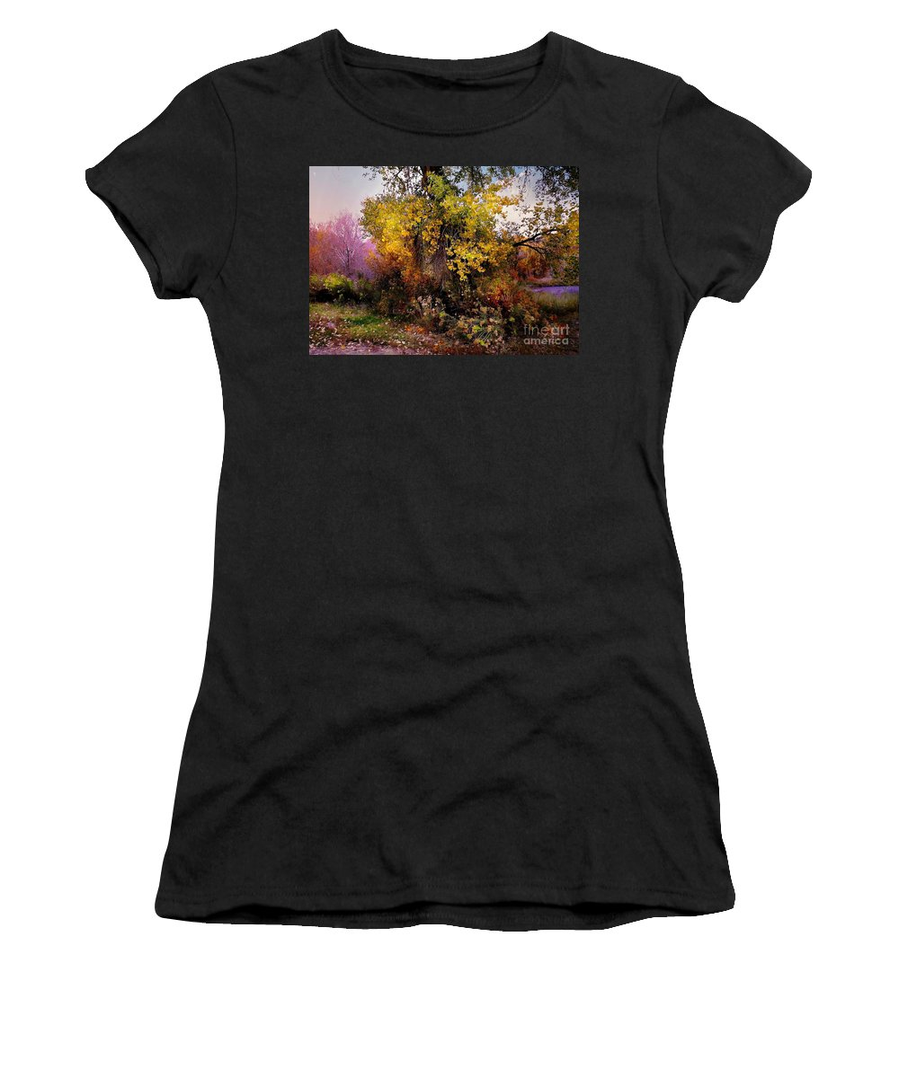 Yellows Women's T-Shirt (Athletic Fit) featuring the digital art Autumn Glory by Annie Gibbons