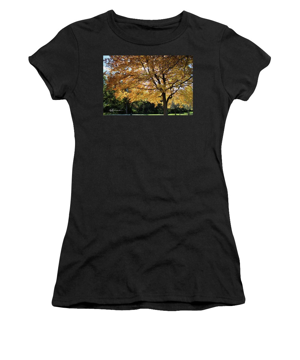 Outdoor Images Women's T-Shirt (Athletic Fit) featuring the photograph Autumn Glow by Felipe Gomez