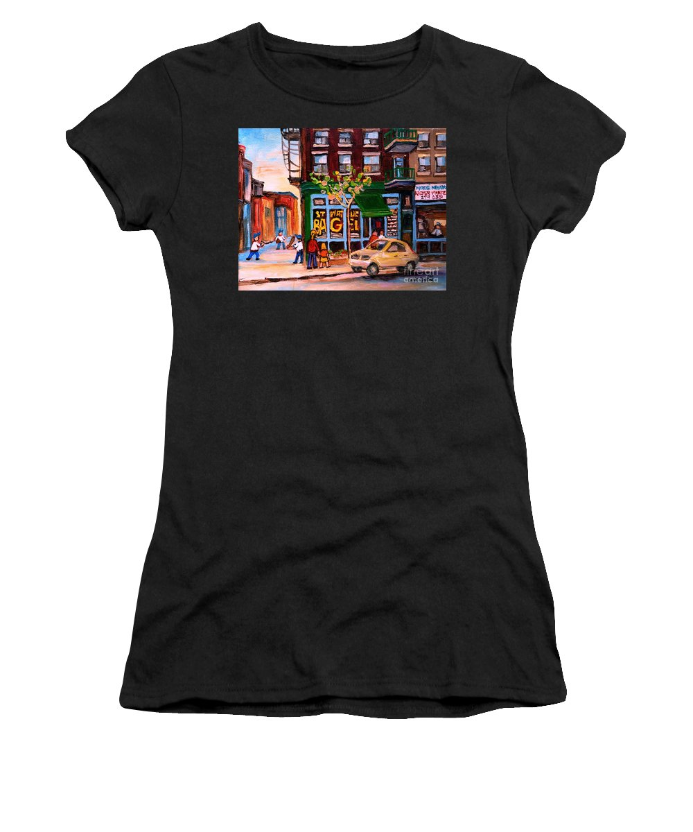 St.viateur Bagel Women's T-Shirt (Athletic Fit) featuring the painting Autumn In The City by Carole Spandau