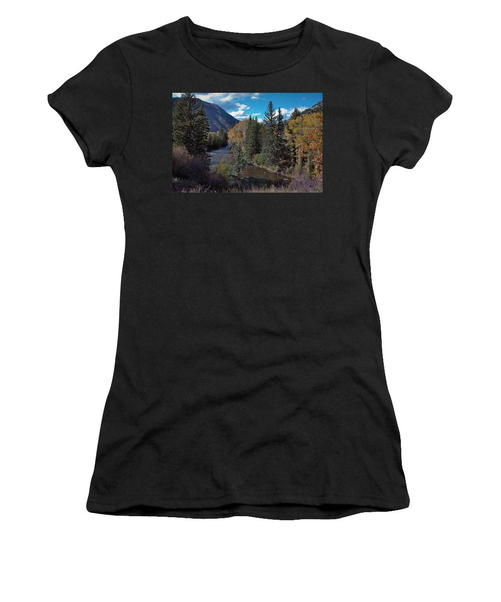 America Women's T-Shirt (Athletic Fit) featuring the photograph Autumn In The Rockies by Joan Carroll