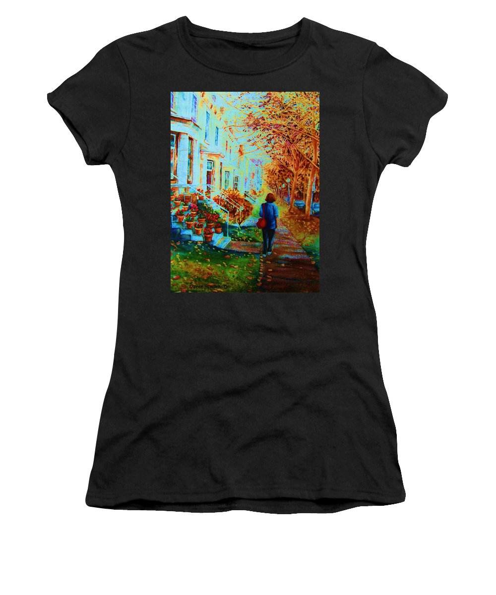 Montreal Women's T-Shirt (Athletic Fit) featuring the painting Autumn In Westmount by Carole Spandau
