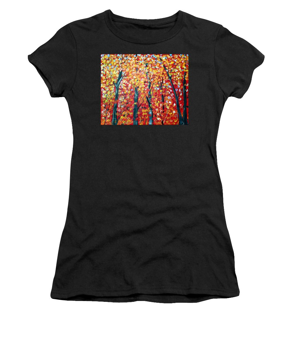 Landscape Women's T-Shirt featuring the painting Autumn by Luiza Vizoli