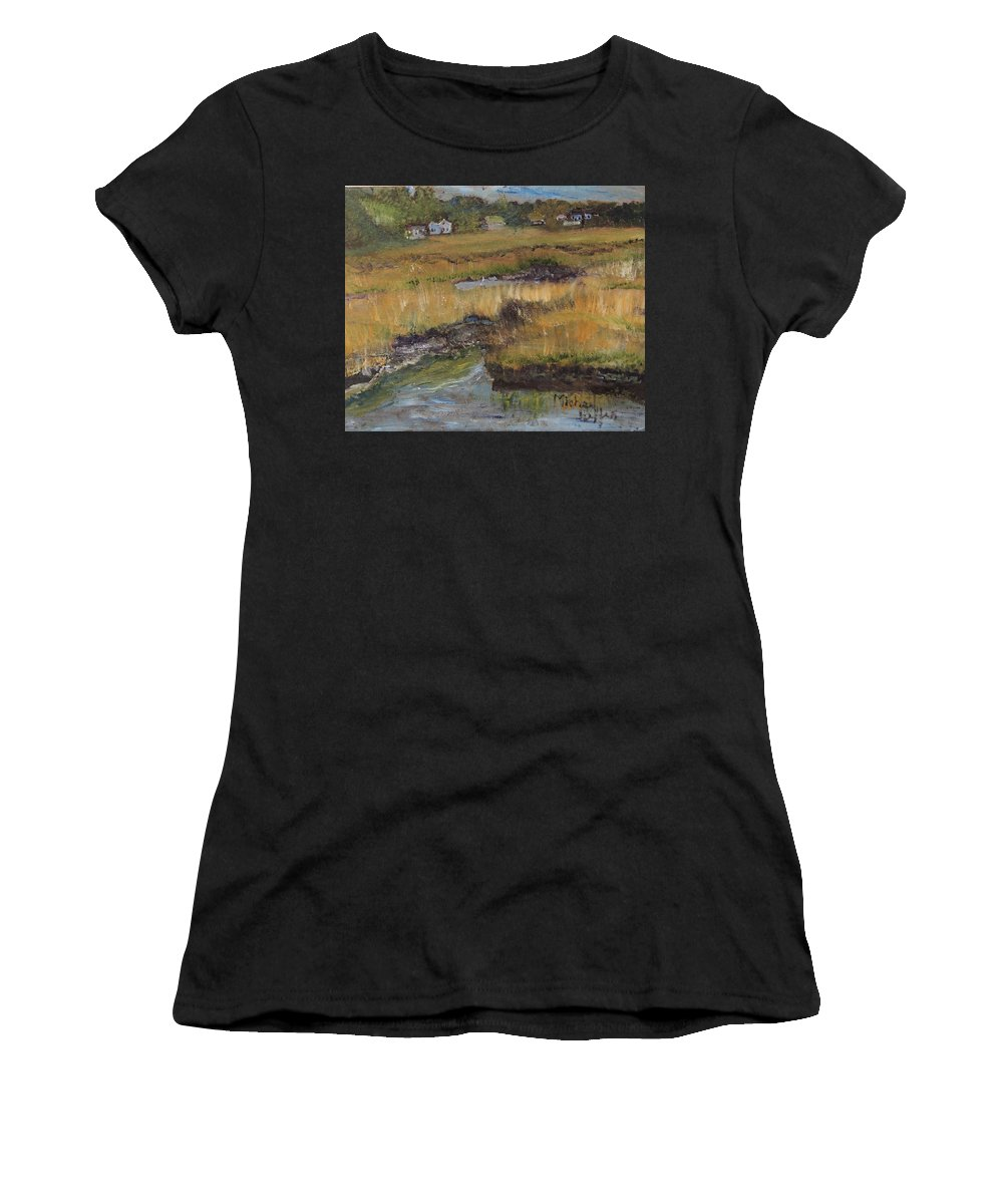 Cape Cod Women's T-Shirt (Athletic Fit) featuring the painting Autumn Marsh by Michael Helfen
