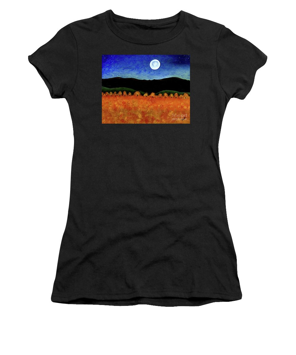 Country Women's T-Shirt (Athletic Fit) featuring the painting Autumn Moon I by Brian Wayne Bingham