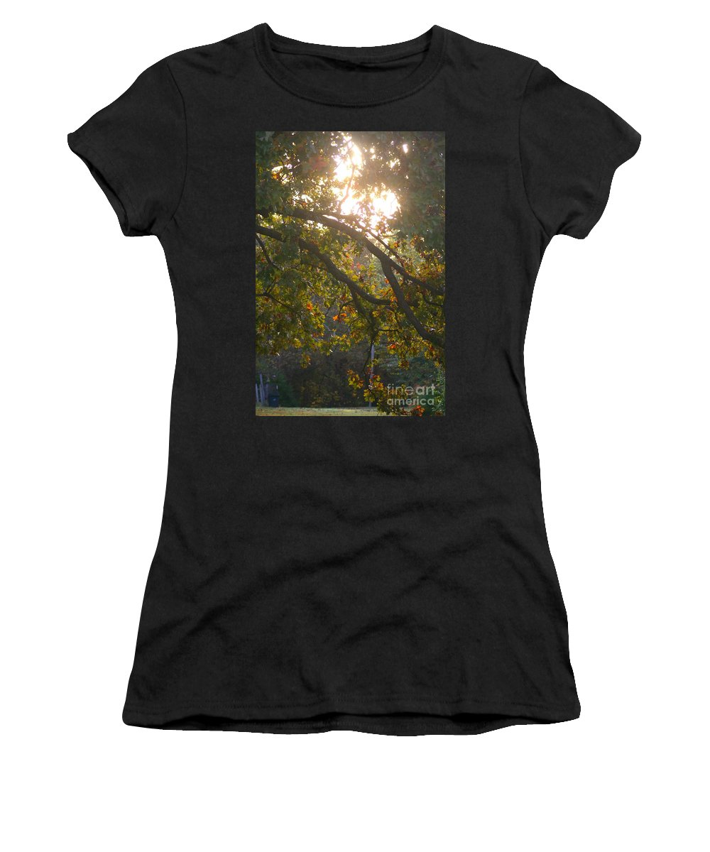 Autumn Women's T-Shirt (Athletic Fit) featuring the photograph Autumn Morning Glow by Nadine Rippelmeyer