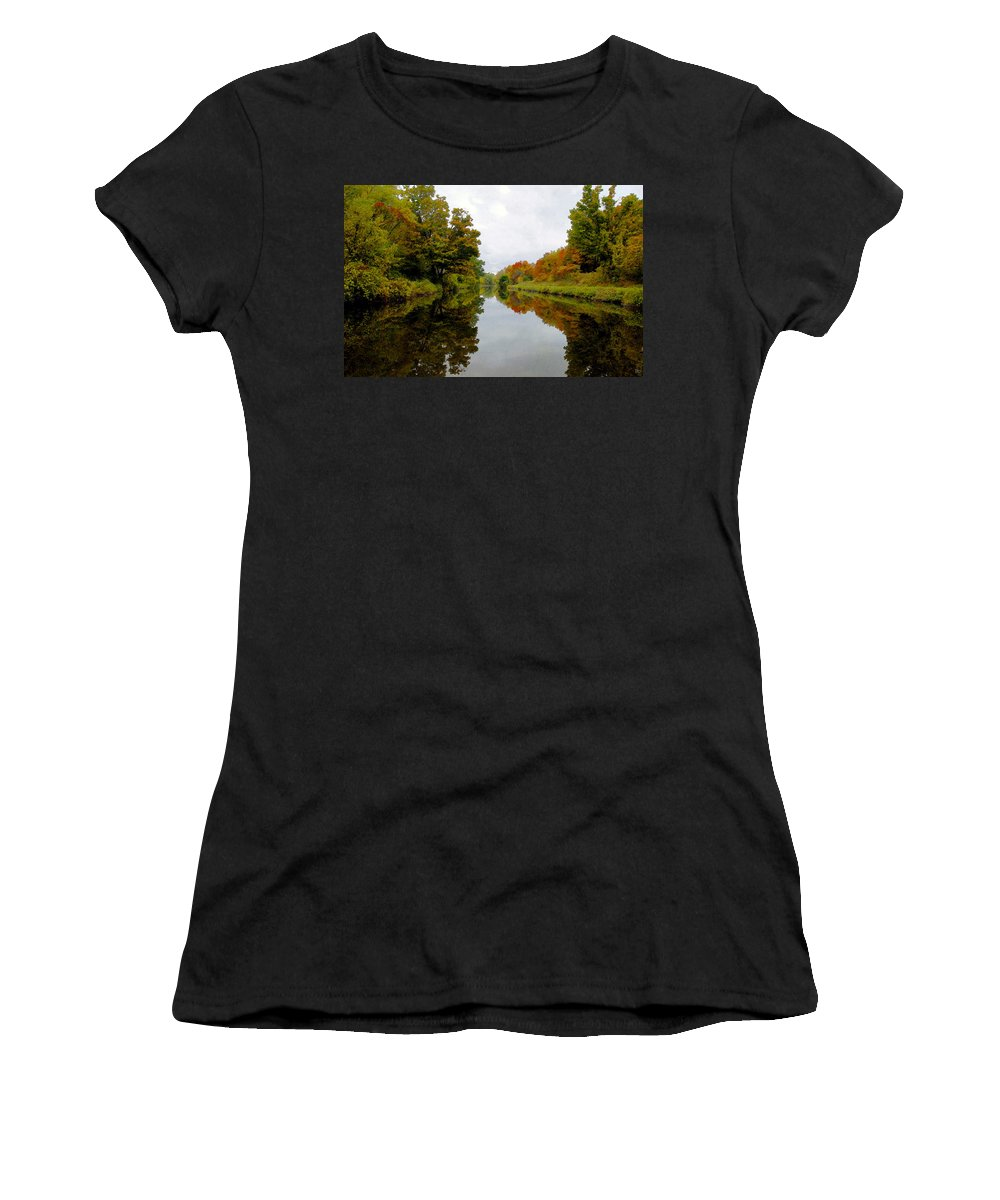Eire Canal New York Women's T-Shirt (Athletic Fit) featuring the painting Autumn On The Erie Canal by David Lee Thompson