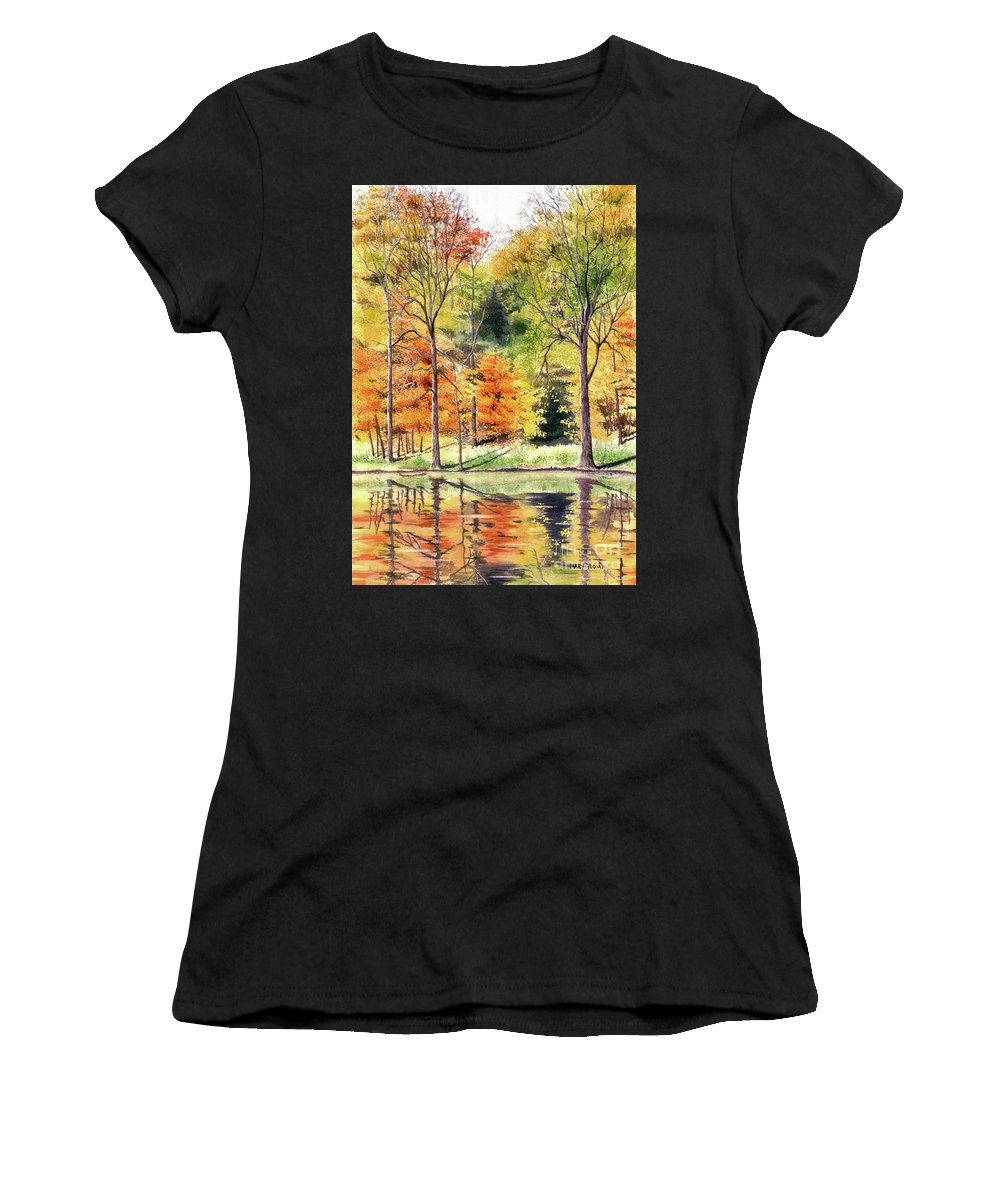 Autumn Women's T-Shirt (Athletic Fit) featuring the painting Autumn Oranges by Mary Tuomi