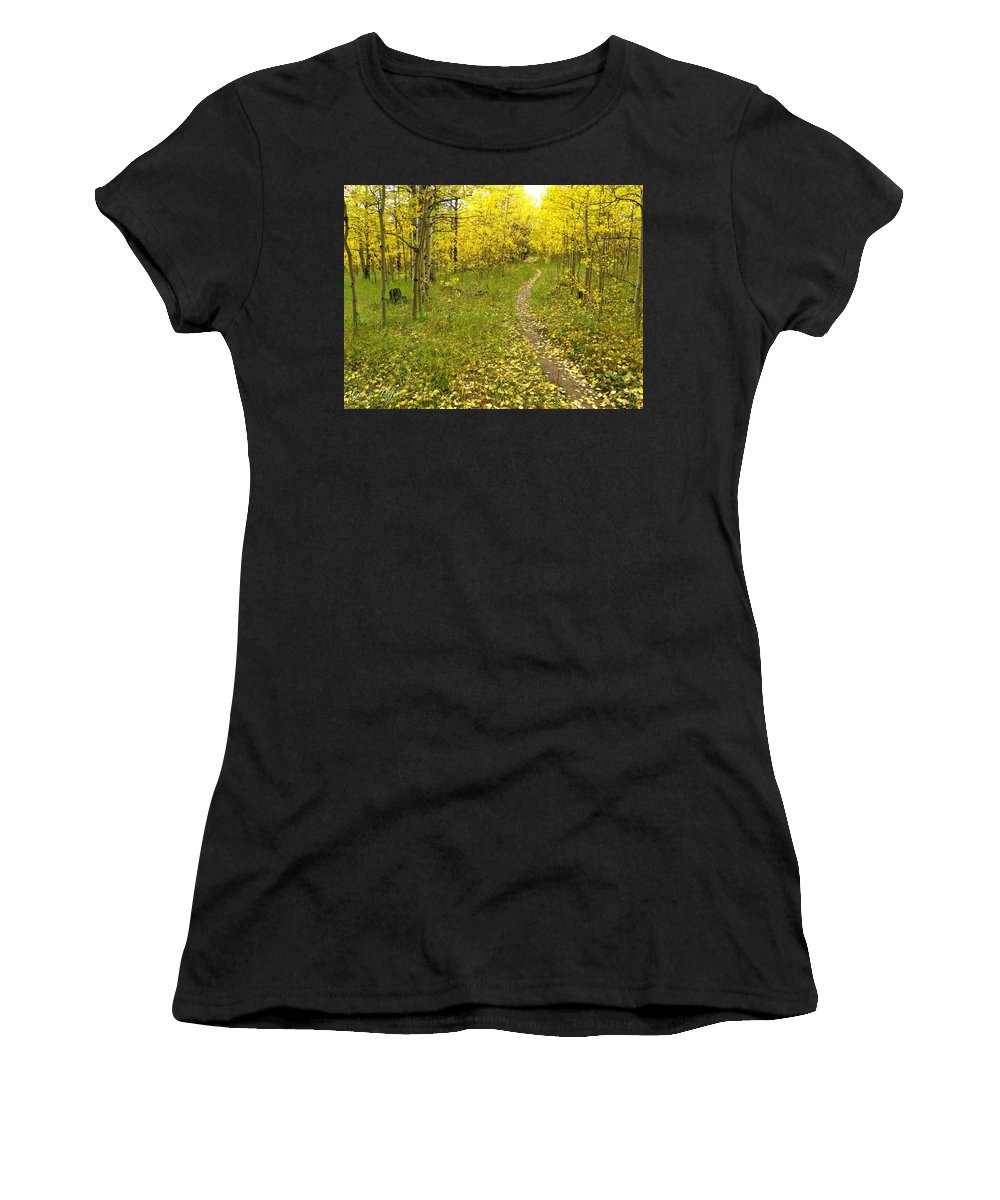 Colorado Rockymountains Autumn Golden Leaves Path Hike Walk Aspen Women's T-Shirt (Athletic Fit) featuring the photograph Autumn Path by George Tuffy