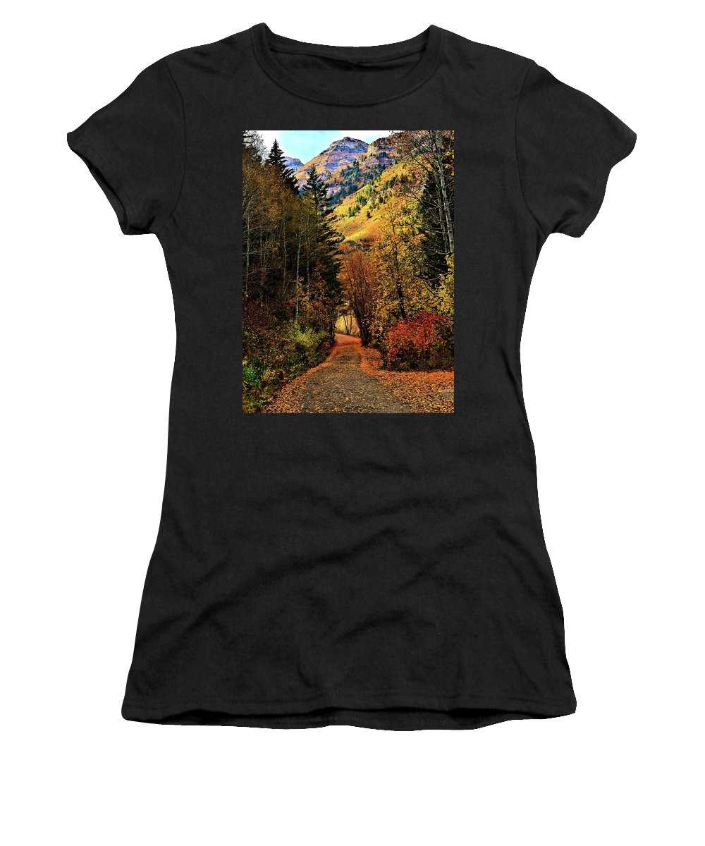 Sundance Women's T-Shirt (Athletic Fit) featuring the pyrography Autumn Path To Stewart Falls by Mandy Anderson