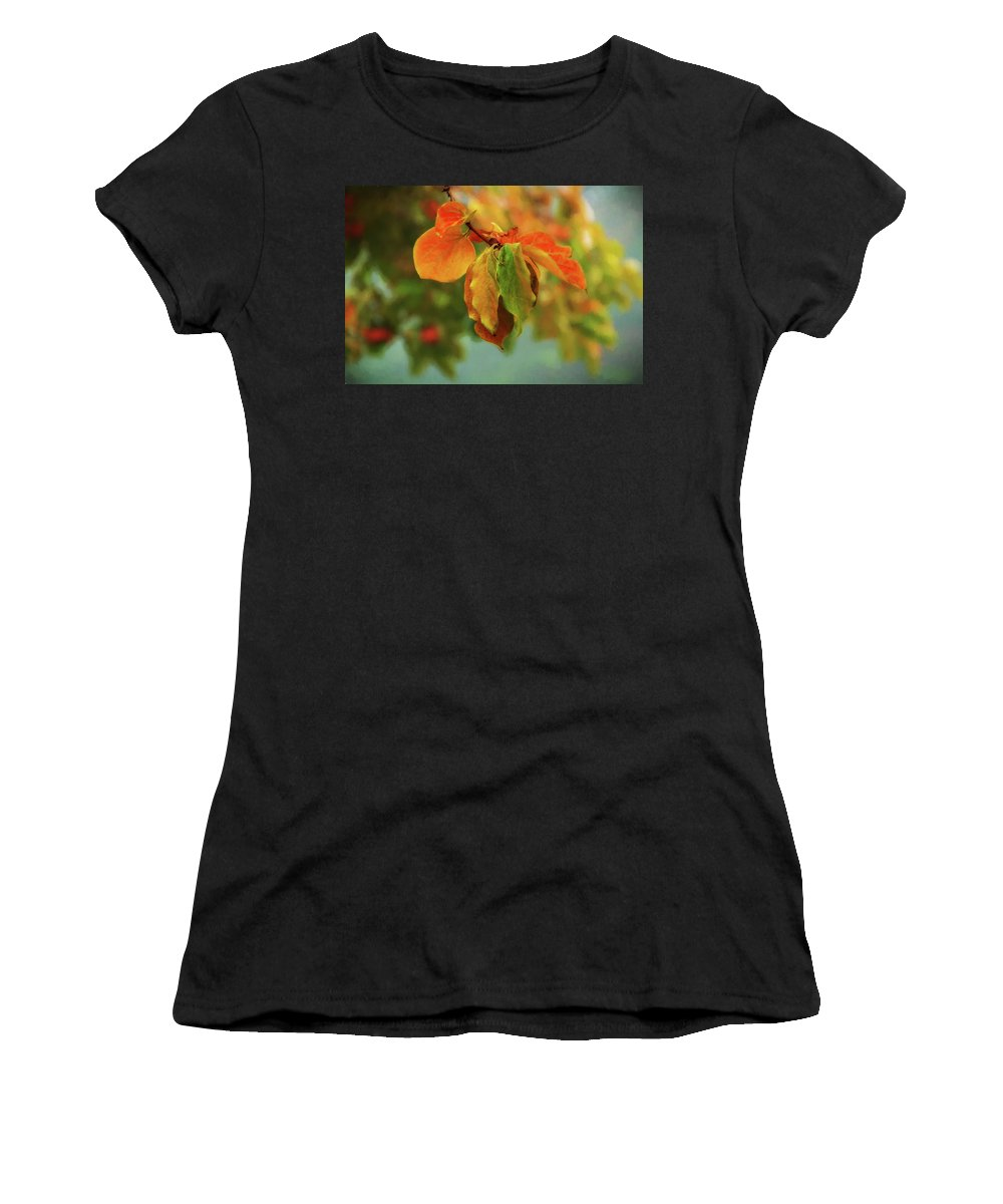 Red Women's T-Shirt (Athletic Fit) featuring the digital art Autumn Persimmon Leaves by Terry Davis