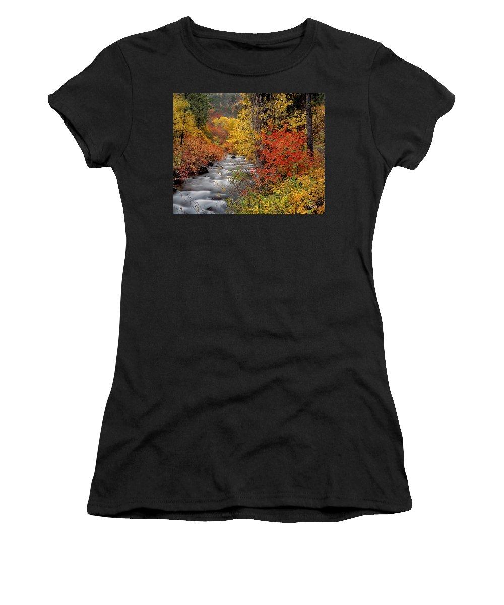 Autumn Women's T-Shirt (Athletic Fit) featuring the photograph Autumn Rapids by Leland D Howard