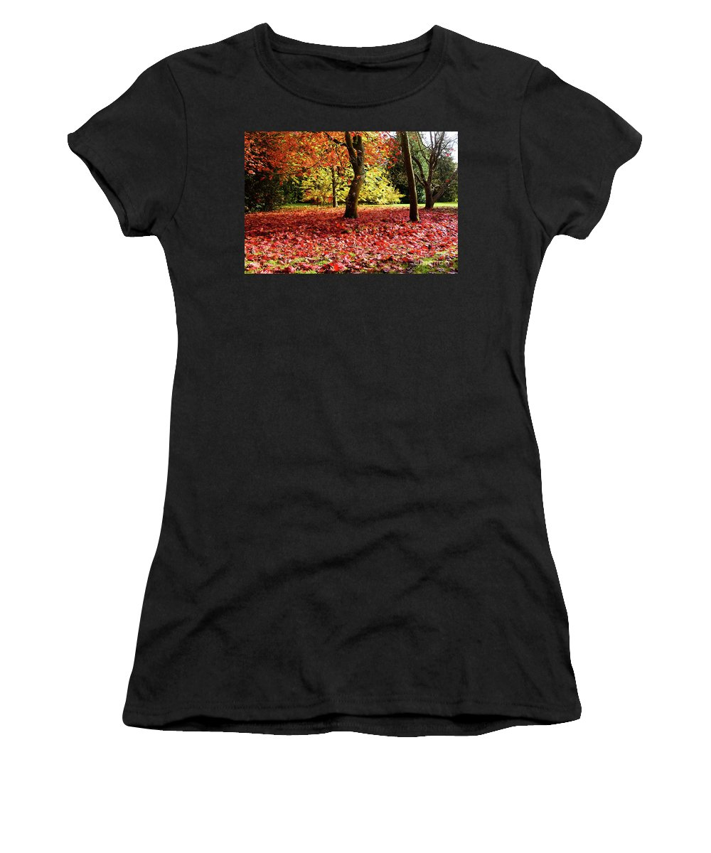 Gloucestershire Women's T-Shirt (Athletic Fit) featuring the photograph Autumn Reds by Colin Rayner