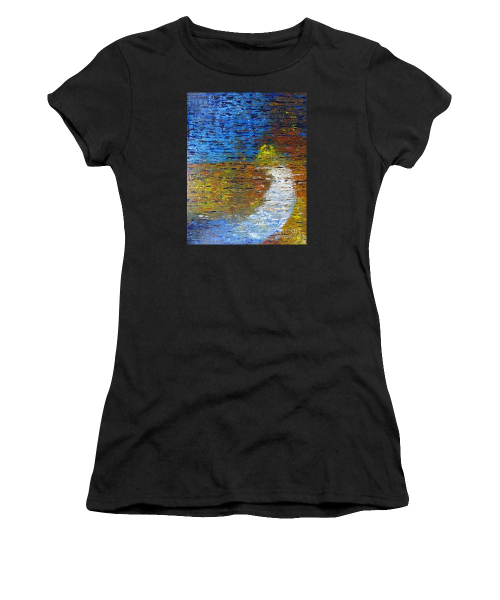 Autumn Reflection Women's T-Shirt featuring the painting Autumn Reflection by Jacqueline Athmann