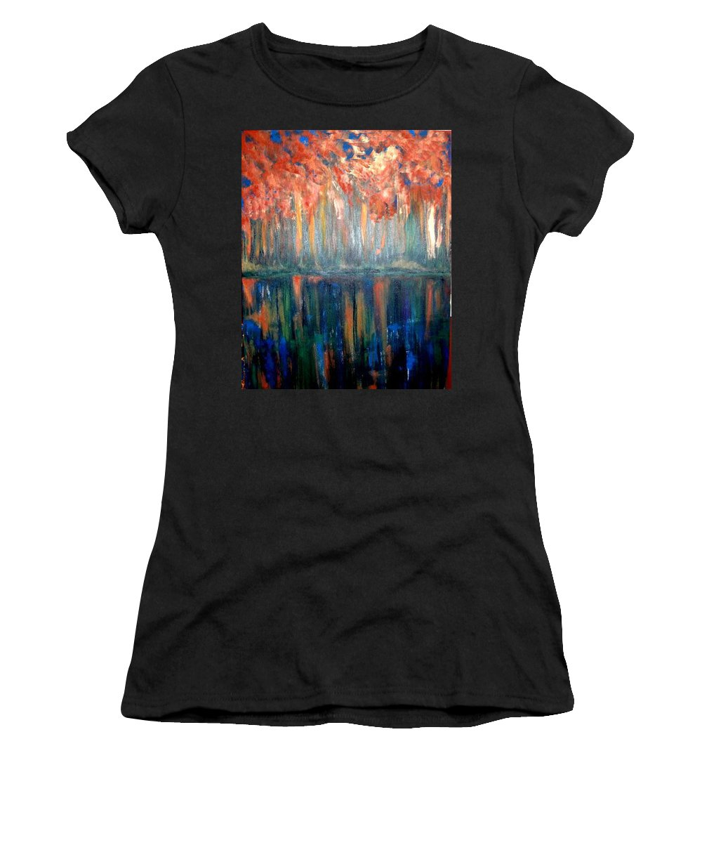 Original Art Women's T-Shirt (Athletic Fit) featuring the painting Autumn Reflections by Rae Chichilnitsky