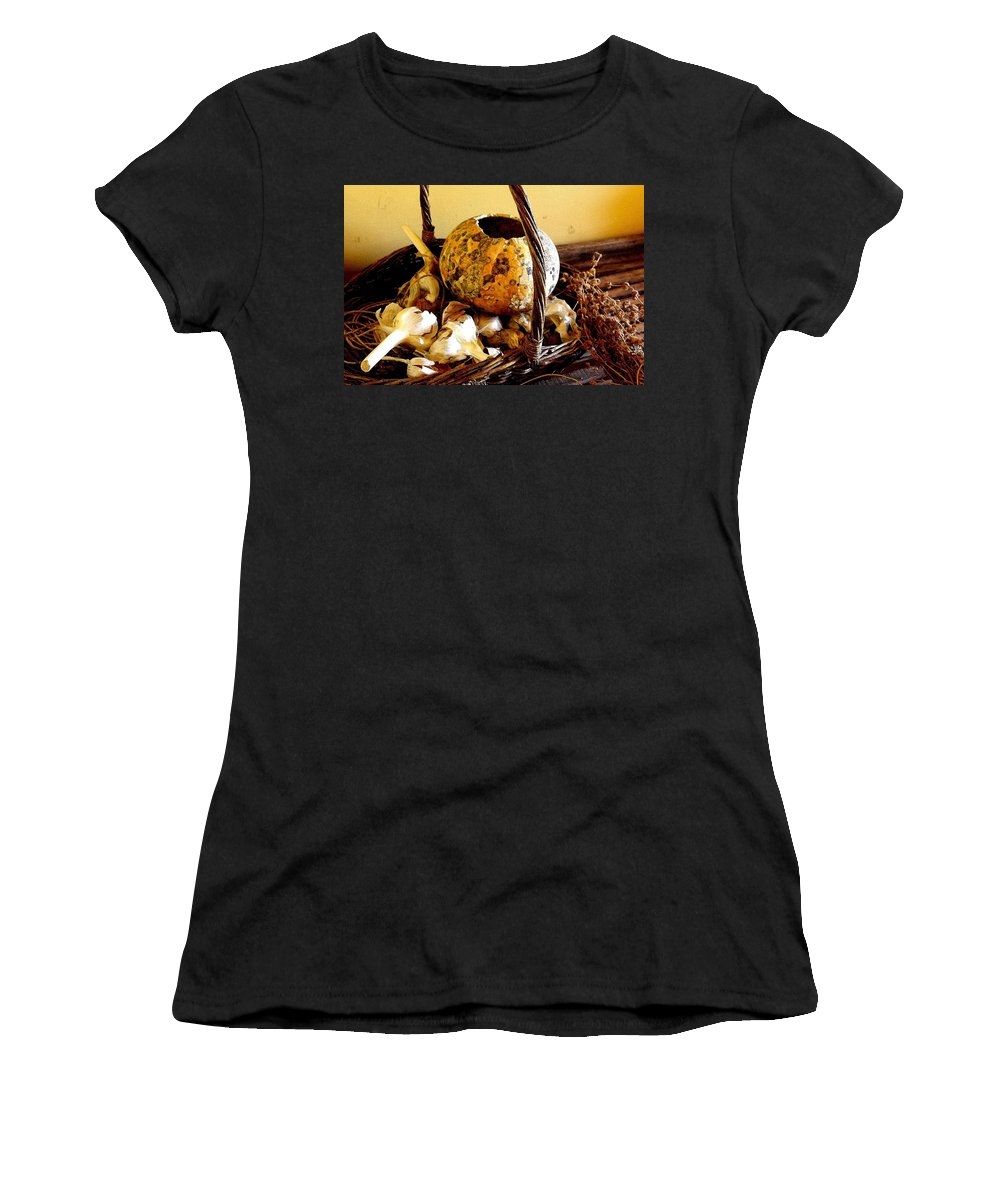 Still Life Women's T-Shirt (Athletic Fit) featuring the photograph Autumn Still Life by Nelson Strong